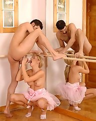 Blond ballerina gives head
